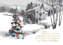 Pencil Drawn Water Mill with Christmas Tree Cards